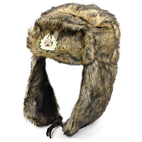 RUSSE style MARRON FAUSSE FOURRURE BONNET TRAPPEUR chapeau avec soviet badge et le menton fermeture - Marron, 58
