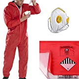 The Chemical Hut PPE Asbestos Removal Kit Pack - x1 Large Red Coverall, x5 Red & x5 Clear Waste Disposal Bags & x1 Fold Face Valved Mask - Comes with THE CHEMICAL HUT® Anti-Bac Pen