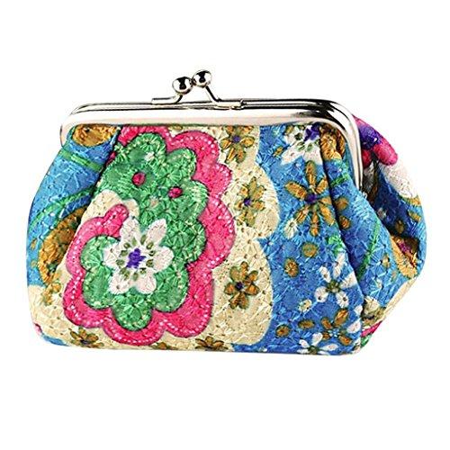 Portefeuille Femmes, YUYOUG Femmes Rétro Vintage Flower Wallet Hasp sac à main sac d'embrayage