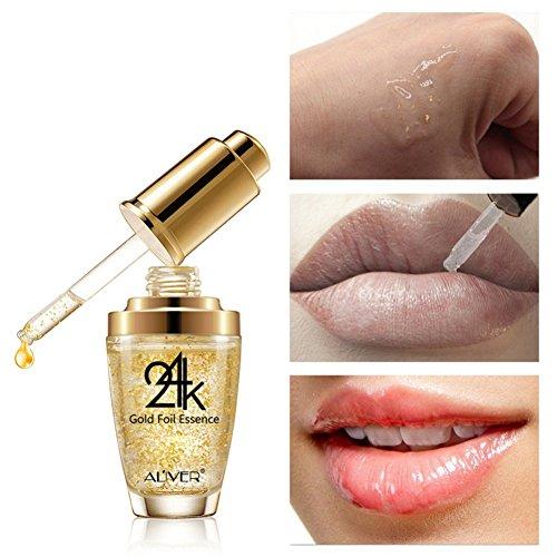 Allbesta 24K Gold Foil Essence Serum Anti Aging + Anti Falten + Bio Collagen Booster Gesichtsserum mit organischen Inhaltsstoffen...