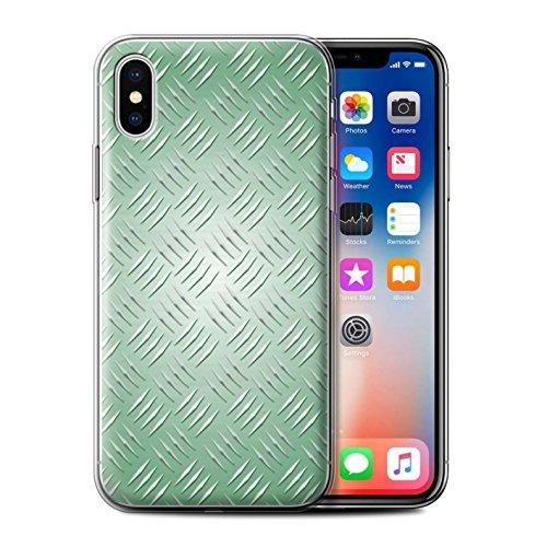 Stuff4 Gel TPU Hülle / Case für Apple iPhone X/10 / Gold Muster / Geprägte Metall Mutser Kollektion Grün