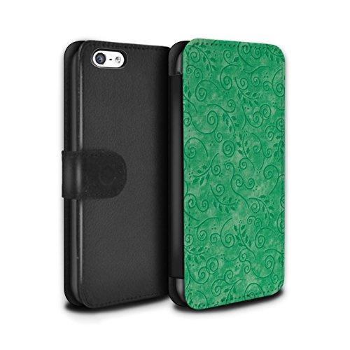 Stuff4 Coque/Etui/Housse Cuir PU Case/Cover pour Apple iPhone 5C / Jaune Design / Motif Feuille Remous Collection Vert