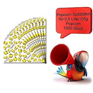 1000 Popcornspitztüten für 0,5l/35g Popcornmais