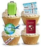 Vorgestanzte Reisemotive, Essbares Reis-/Oblatenpapier, Cupcake-Dessert-Dekoration für Sommer, Strand, Urlaub, Party, Geburtstag