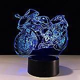GZXCPC Motorrad 3D Vision Illusion Lampe Bunte Farbe Touch Acrylplatte Energiesparend LED Zimmer dekorative Nachttischlampe kreative Geschenk Nachtlicht