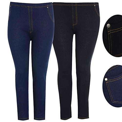 Missmister Womens Ladies Denim Look Skinny Slim Stretchy Jeggings Leggings With Elasticated Waist and 2 Back Pockets in Plus Size UK 8-28