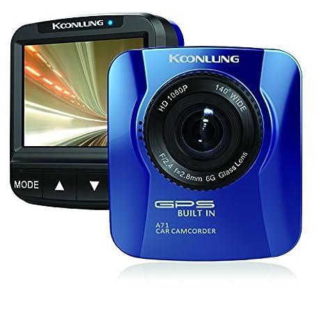 koonlung a71N 1080p voiture DVR Caméscope Tableau de Bord 160° Large Angle de vue 5,1cm accéléromètre Hdr Vision nocturne et écran offre une carte mémoire 16Go. Enregistreur vidéo Road Appareil photo