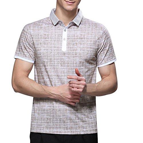Zicac Herren Poloshirt Business Freizeit Kurzarm T-Shirt Beige