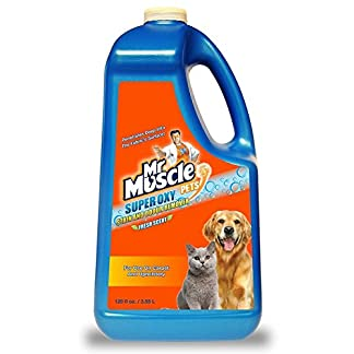 Mr Muscle® Pets Oxy Action Oxy Stain & Odour Remover Fresh Scent Quick and Effective Powerful Oxy Cleaner Patented Formula Professional Strength Cleaner for Use on Carpet and Furniture – 3.75 Ltre 51LxC9i3yvL