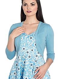 Hell Bunny Ladies 50s Plain Cardigan Maggie Bolero Top Sky Blue All Sizes