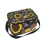 folpply Sonnenblume mit Biene Isolierte Lunch Tasche, Reißverschluss Kühler Tasche, Lunchbox Mahlzeit Prep Handtasche für Picknick Schule Frauen Herren Kinder