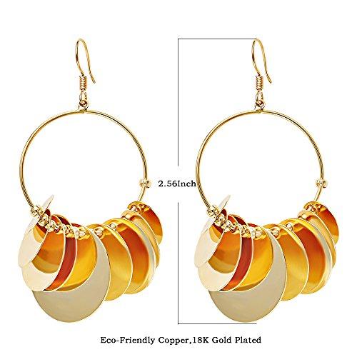 HK Mode Nachtclub Rock Roll Quaste Ohrringe Ohrringe, Umweltfreundliche Kupfer Vergoldet