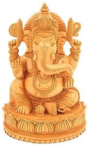 Buy Craftvatika Wooden Ganesh Statue Hand Carved Sitting