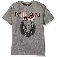 Milan T-Shirt Ragazzo Grigio Melange Scuro con Stampa sul Petto e su Manica-Originale, Maglietta Bambino