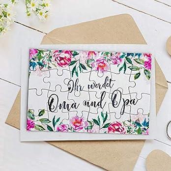 """A6 Puzzle mit 24 Teile """"Ihr werdet Oma und Opa"""" Rosa Blumenmuster zur Verkündung der Schwangerschaft – Geschenkidee für Oma, Opa, Großeltern, Schwiegereltern"""