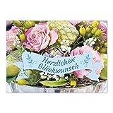 5 x Geburtstagskarte - Glückwunschkarte mit Umschlägen im Set, DIN A6 zum Geburtstag - Karte quer 2 seitig Postkarte Brief