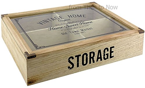Vintage Home 4 Compartment Wooden Cutlery Storage Box Glass Lid