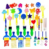 VAMEI 30 unids Niños Cepillos de Pintura de Esponja Herramientas de Dibujo para Niños Pintura Temprana Artes DIY Artesanías