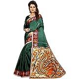 Shreeji Ethnic Women's Khadi Silk Printed Saree With Printed Blouse Piece - B07D7BFH4G