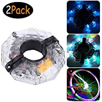 Bike Wheel Lights USB Rechargeable- 4 Colors 3 Modes - Water Resistant LED Bicycle Hub Light for Both Adults Kids Bike (Suitable for Hub Diameter: 19-36mm),2 Pack