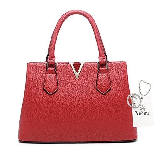 Borse per donne Yoome per le donne Crossbody Lichee Top Handle Tote Handbags di grande capacità - L.Grey Rosso