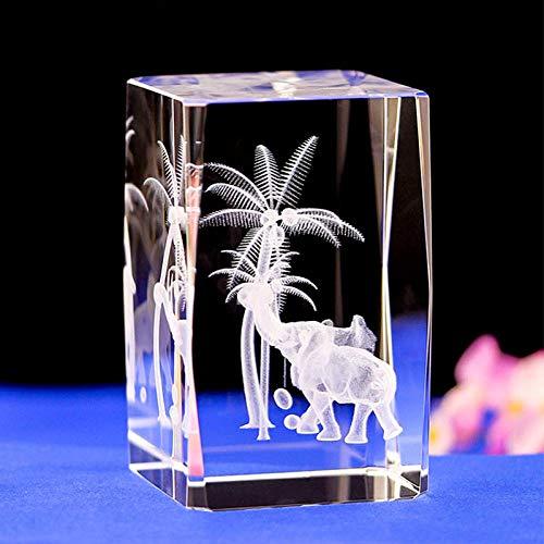 Luz Lampara Elefante Cristal De Grabado Láser Luz Nocturna Con Colores Cambiantes Base De Luz Led Elefante Grabado Con Láser