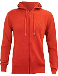 Mens Fenchurch Zip Up Hoodie Angora mix Knitted Hooded Cardigan in Red