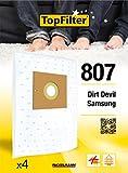 TopFilter 807, 4 sacs aspirateur pour Samsung et Dirt Devil, boîte de sacs d'aspiration en non-tissé, 4 sacs à poussière (30 x 26 x 0,1 cm)