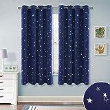 RYB HOME Gardinen Blickdicht Ösen - Sterne Verdunklungsvorhang für Kinder Mädchen Junge Schlafzimmer Lichtundurchlässige Vorhänge, 2er Set H 137 x B 132 cm, Dunkel Blau