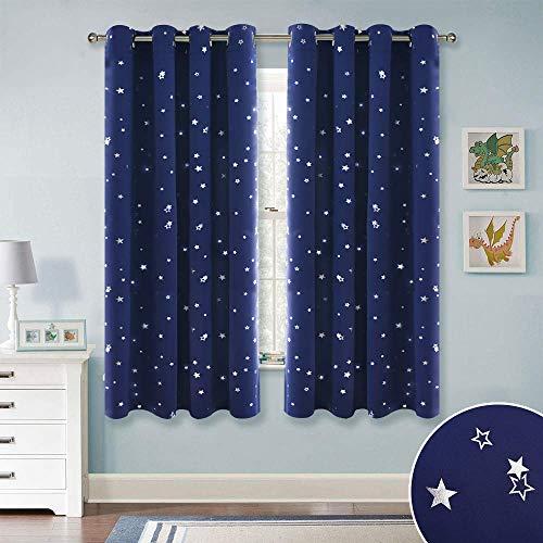 rdinen Schlafzimmer - Blickdicht Vorhang Kinderzimmer Blickdicht Thermo Gardine Sterne Vorhänge Verdunklung Ösenvorhang, 2 Stücke H 160 x B 132 cm, Blau ()