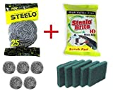 #1: Steelo Brite New Combo Pack Of 5 Steel Scrubber And 5 HD(Heavy Duty) Scrub Pad For Kitchen Cleaning
