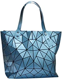 Labanca Women'S Pu Shoulder Bag Geometric Pattern Top Handle Bag Weekend Tote Bag Blue