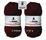 2 x Wolle myboshi Fb Fb135 bordeaux, 50g, ca. 55 m / Knäuel