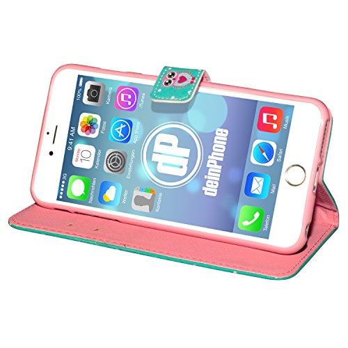 "deinPhone Apple iPhone 6 6S Plus (5.5"") KUNSTLEDER FLIP CASE Hülle Tasche Eulen Happy Family Eule Türkis Rosa Herz"