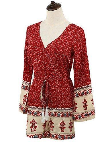 GSP-Combinaisons Aux femmes Manches Longues Sexy Polyester Moyen Non Elastique red-s
