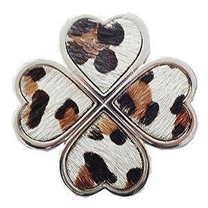 Lolita Magnet Brosche Schal Poncho Taschen Anstecker Kleeblatt mit Fell Leoparden Muster Nude