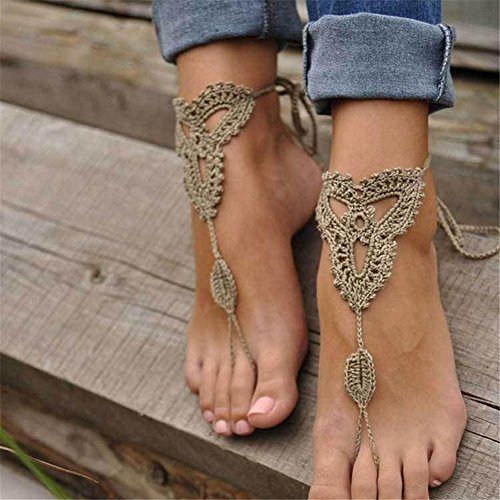 rongxinuk-1-pair-ornate-barefoot-sandals-beach-wedding-bridal-knit-anklet-foot-chain-khaki