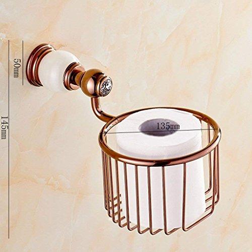 NAERFB Retro Messing Rose Gold Farbe Papier Handtuch Warenkorb WC-Papierrollen Halter Toilettenpapier Stand Marmor Deko (Farbe: C) (Vintage-papier-handtuch-halter)