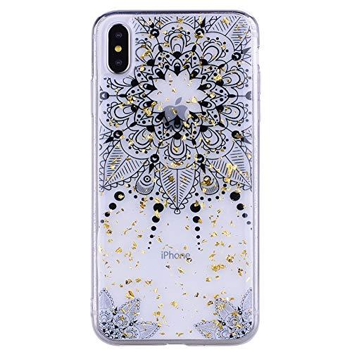 iPhone XS Silikon Hülle, Vemos Glitzer Funkeln Metallic Gold Foil Highlights Ultra Dünn Crystal Case Klar Bumper Schutzhülle mit Vintage Schwarz Muster - Blumen Floral Spitze -