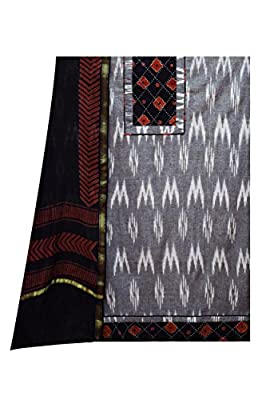 Women's Cotton Slawar Suit Dupatta Material Punjabi Traditional Suit Grey Black Colour