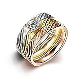 LALOPEZ Frauen Europa und die Vereinigten Staaten Vakuumüberzug Edelstahl Dreifarbiger Zirkon Drei-Ring Ring, Größe 57 (18.1)