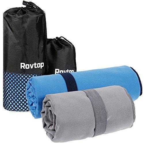 Rovtop 2 Pezzi Asciugamano Microfibra, Altamente Assorbente, Piccolo, Leggero Antibatterico, ad Asciugatura Rapida, per Sport - Trekking - Yoga - Palestra - Nuotata, 50 x 100cm e 70 x 150cm