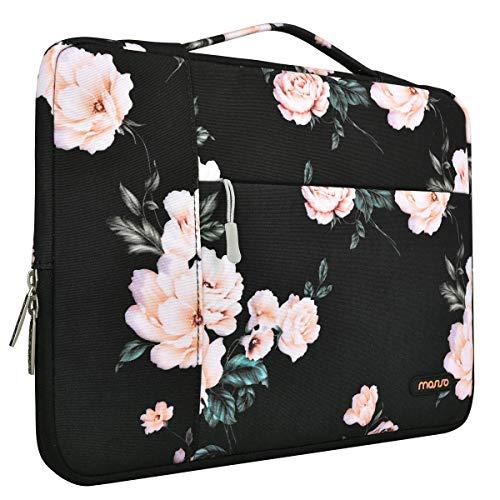 MOSISO Tasche Sleeve Hülle Kompatibel 13-13,3 Zoll MacBook Pro, MacBook Air, Multifunktion Spritzwasserfest Laptoptasche Handtaschen mit zusätzlichem Stauraum Polyester Hülle, Schwarze Pfingstrose