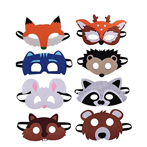 LAOZHOU Tiermasken Filz Tier Masks Maske Bauernhof-Tiere 8 Stück Ideal zum Kindergeburtstag und Karneval