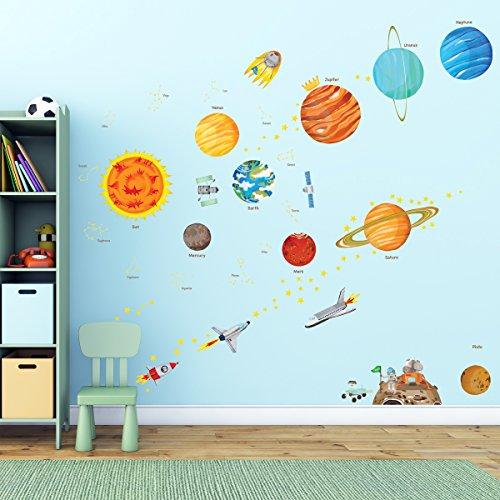 Decowall DA-1501 El Sistema Solar Vinilo Pegatinas Decorativas Adhesiva Pared Dormitorio Salón Guardería Habitación Infantiles Niños Bebés (Grande) (English Ver.)