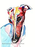 Greyhound Art Whippet Print Lurcher Italian Greyhound Painting Art Print Birthday Mothers Day Gift - A4, A5 Sizes - Mounting Options Available
