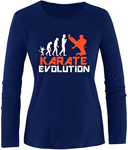 EZYshirt® Karate Evolution Damen Longsleeve Navy/Weiss/Orange