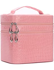 HOYOFO Large Double Layer Beauty Makeup Box Sturdy Leather Cosmetic Storage Cases,Pink