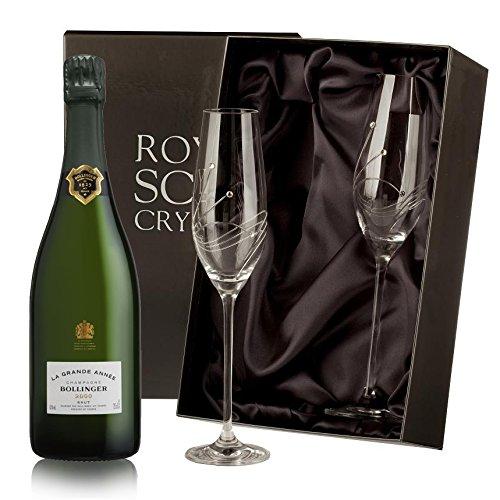 Bollinger Grande Annee Champagne with Swarovski Crystal Flutes NV 75 cl (Case of 2)