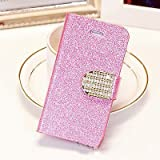 Popular Crystal Diamond Glitter Bling Flip Wallet Stand Case Cover 6 Colors For Iphone 5C